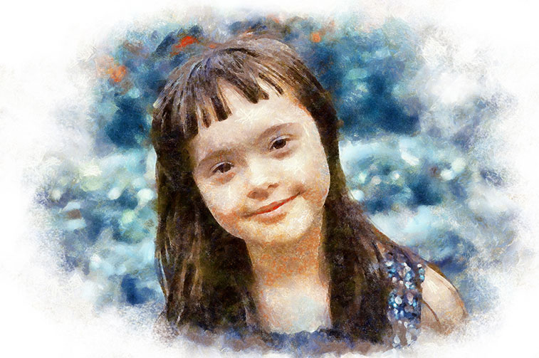 young girl with Downs Syndrome